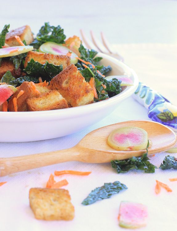 Winter Panzanella Salad with Kale, Carrots & Watermelon Radishes//The ...