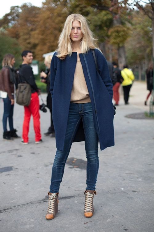 Street Style:In this model moment, we're loving a streamlined navy coat and Chloé boots.  Street Style Spring 2013 - Paris Fashion Week Street Style
