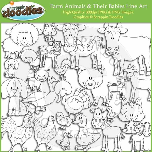 Line Art Farm Animals : Farm animals and babies line art my pinterest