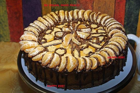 Apple Pumpkin cheesecake with tangerines, dark chocolate and almond ...