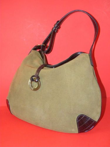 Equipage Paris Suede Leather Hobo Bag Shoulder Handbag Purse Green