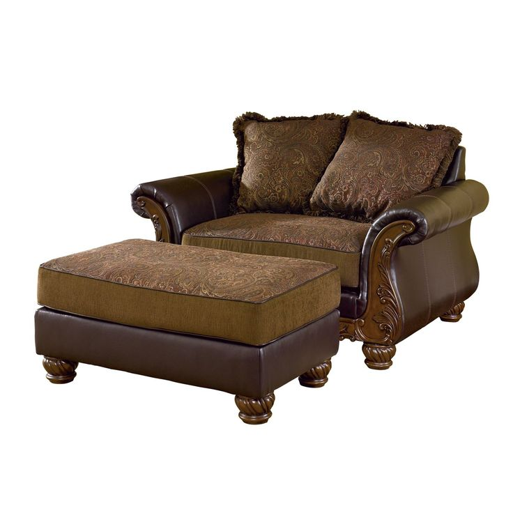signature design by ashley wilmington chair and a half with ottoman