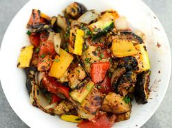 Grilled Ratatouille tossed with EVOO and fresh herbs
