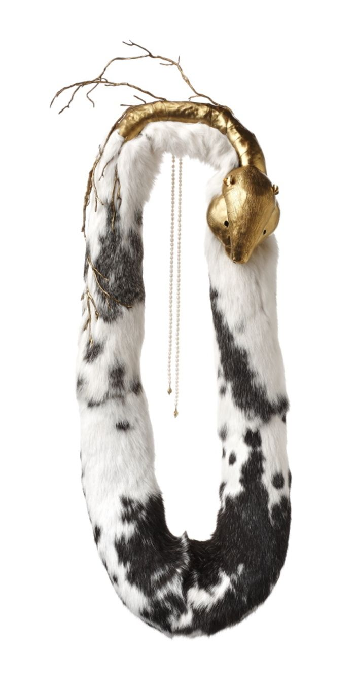 JANjA PROKIĆ (Serbia) - Big beaver necklace - gold plated brass, pearls, fur