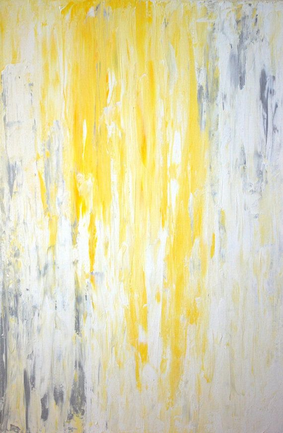 Large Acrylic Abstract Art Painting White Yellow And Grey