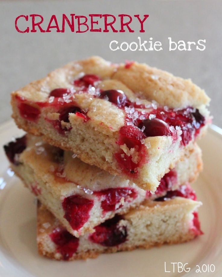 Cranberry Cookie Bars. | Cookie Lovers | Pinterest