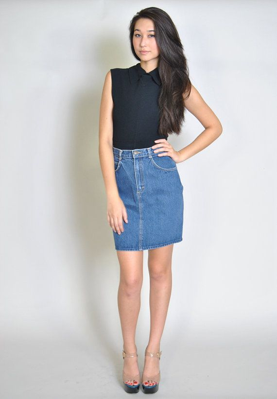 vintage denim skirt 80s high waisted fitted mini pencil