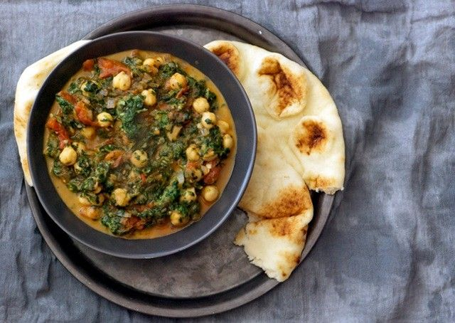 Curried Chickpeas with Spinach and Tomatoes - Bon Appétit - 340 ...