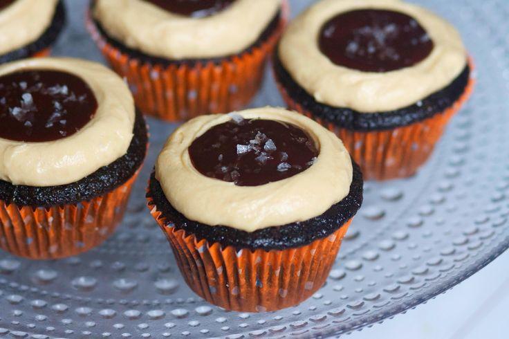 Dark Chocolate Salted Caramel Cupcakes | The Baker Chick