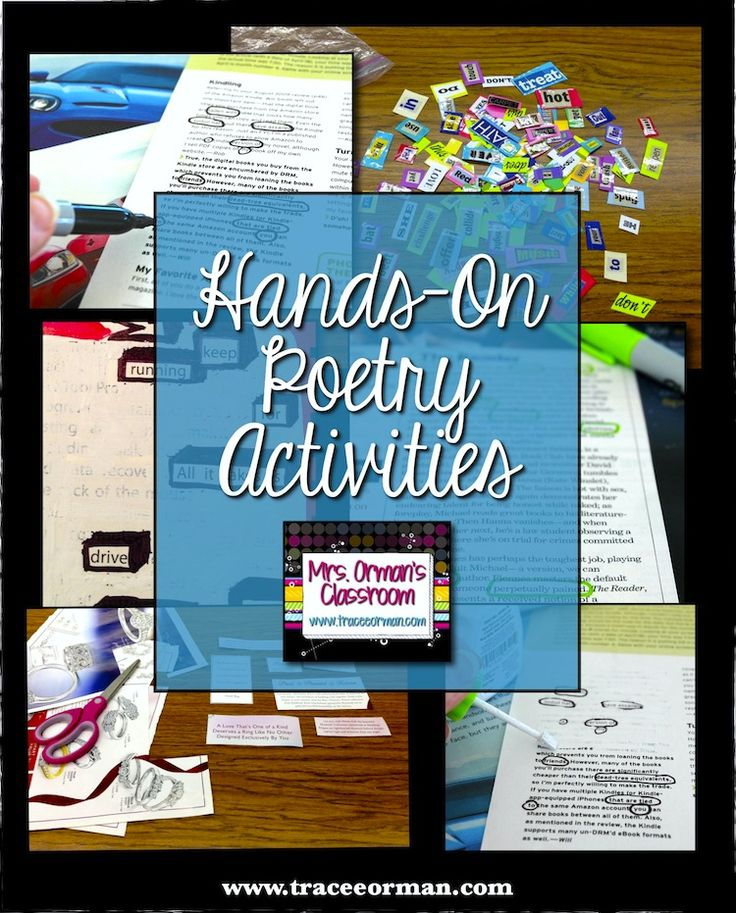 Hands-On Poetry Activities - great ideas for both reluctant writers and natural poets. www.traceeorman.com