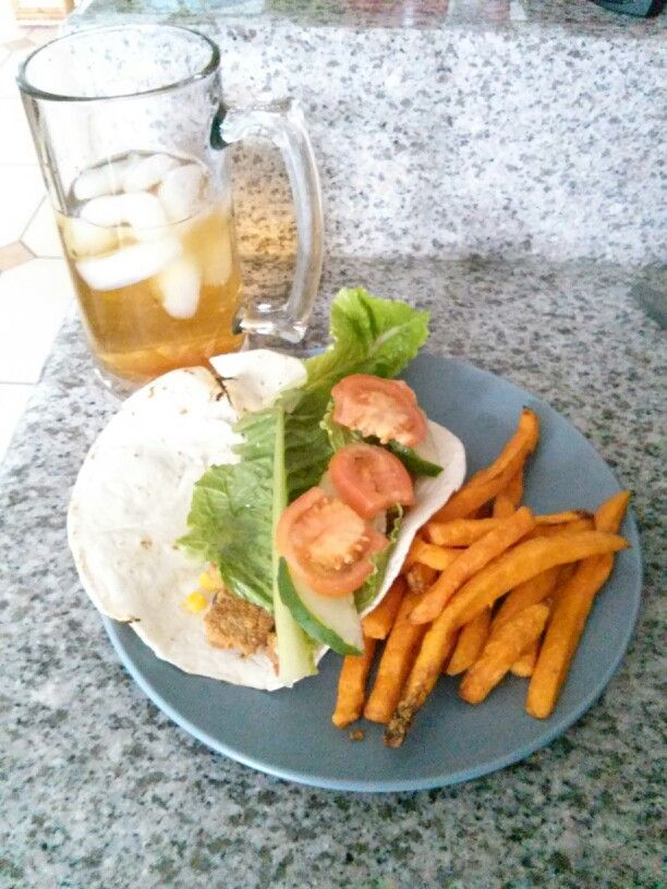 ... sweet potato fries and black bean patty veggie wrap with Herbalife tea