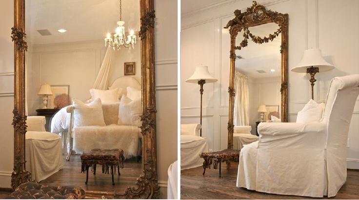 Ornate antique large floor mirror in bedroom mirror for Large bedroom floor mirror