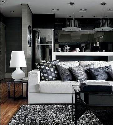 Sala de estar preto, branca e cinza - O cinza sofistica e ameniza ambientes preto/branco
