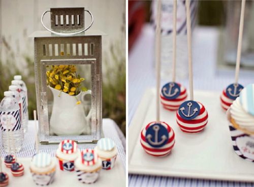 Clever party decor - love the rustic look of the pitcher and flowers inside the lantern! #babyshower #partydecor #nautical