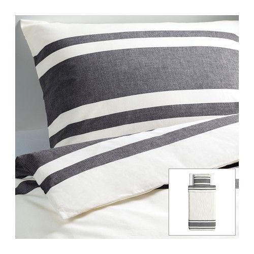 bj rnloka housse de couette et taie noir blanc noir. Black Bedroom Furniture Sets. Home Design Ideas