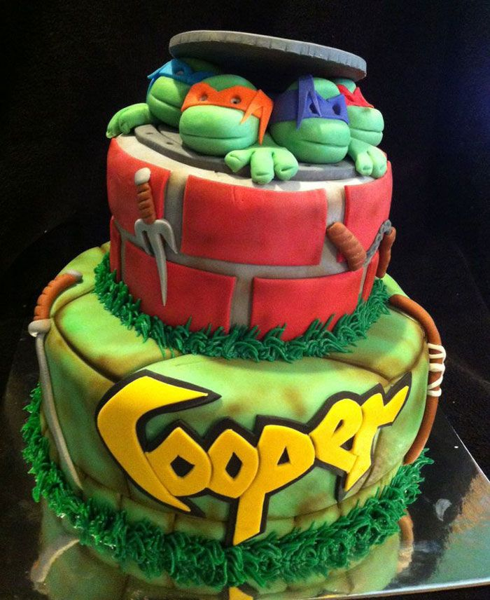 Ninja Turtle Birthday Cake Toppers  [Toy cars & arm bars]  Pinterest