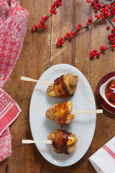 Bacon-wrapped Chicken and Apple Skewers with Mango Chutney. This quick ...