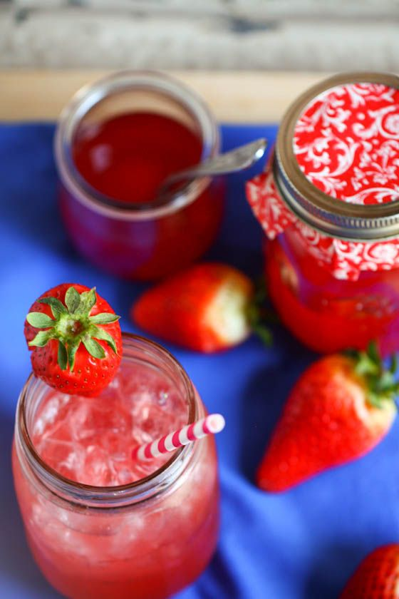 Strawberry rhubarb Italian soda, great basic simple syrup recipe