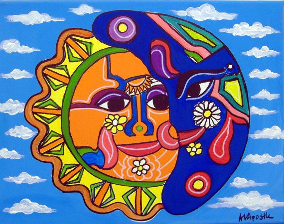 "ORIGINAL PAINTING-Mexican Folk Art - ""Sun & Moon"" - by A.V ..."
