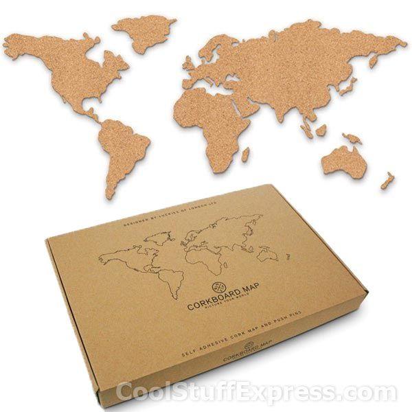 Cork Board World Map travel decor Pinterest