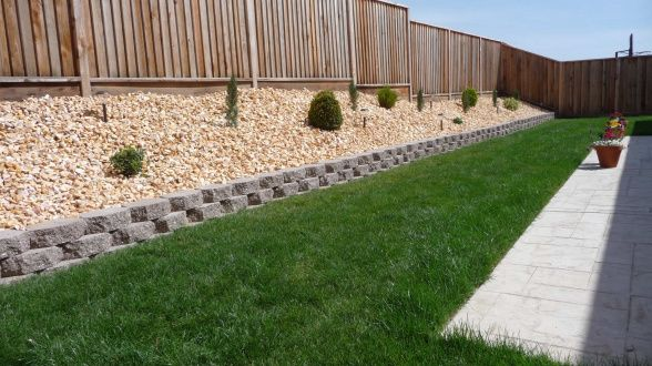 retaining wall on sloped backyard | exterior | Pinterest
