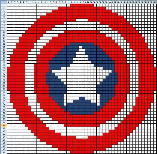 Captain America Knitting Pattern : Captain America Cross Stitch Pattern crossstiching Pinterest