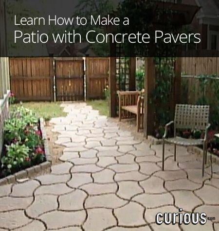 Diy patio with concrete pavers gardening pinterest for Pinterest patio pavers