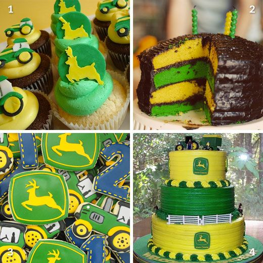 John Deere birthday cakes and cookies - for my boy who loves green tractors!!