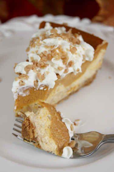 Layered Pumpkin Pie Toffee Cheesecake | 30 Perfect Pumpkin Pie Picks