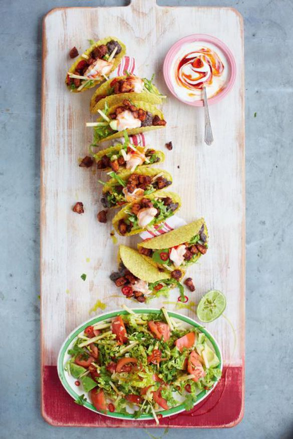 Ultimate pork tacos with spicy black beans and avocado green salad ...