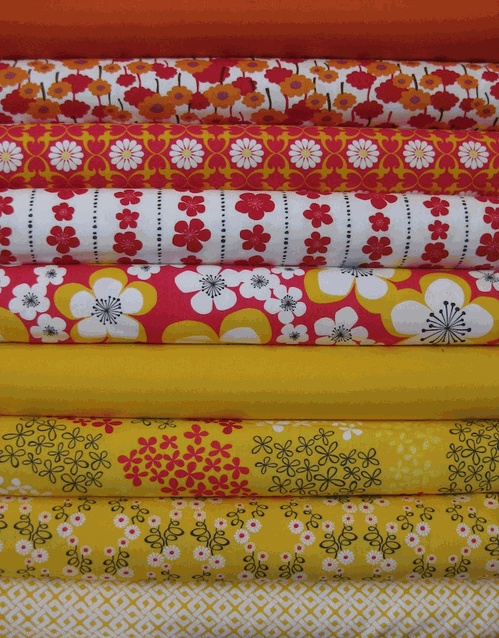 vintage red and yellow for curtains in kitchen