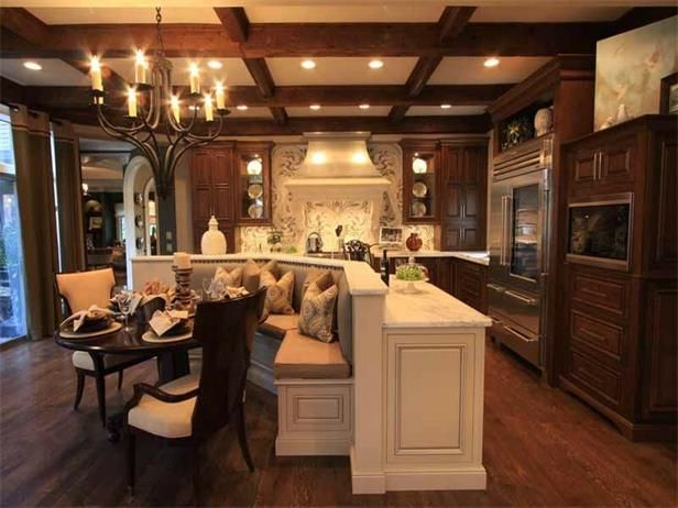 Pin by cristina marie on kitchens dining pinterest for Gourmet kitchen islands