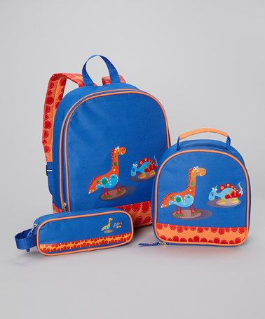 Take a look at this Blue Back to School Dino Backpack Set by Aquarella ...
