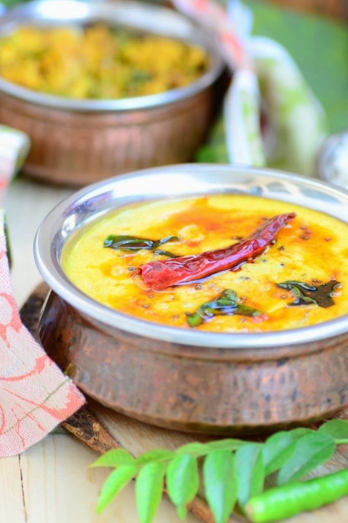 Vegetable kadhi. An Indian soup made with chickpeas flour and sour ...