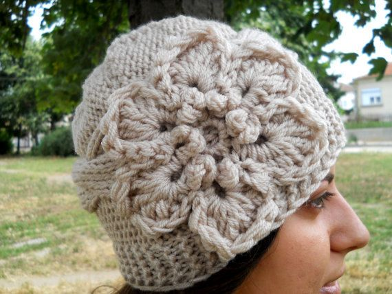 Knit Hat With Flower Pattern : Hand Knit Hat - Cable Hat With Flower Womens Knit Hat, Women Hat Knit?