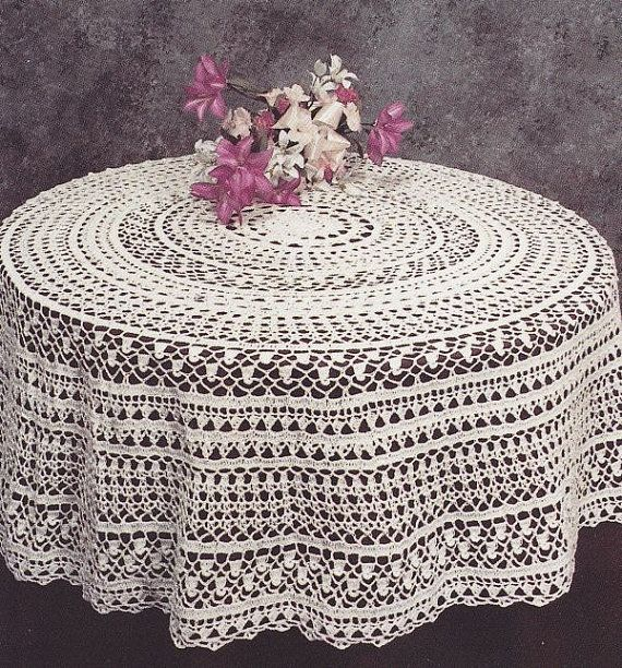 Free Crochet Pattern For Round Tablecloth : Round Tablecloth Crochet Pattern - PDF Instant Download
