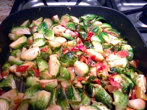 Brussel sprouts with apples and bacon. I'm going to give this a shot ...