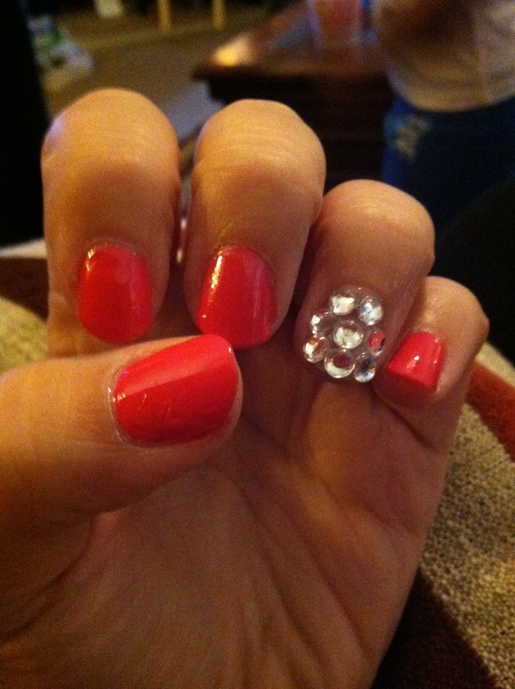 hot pink nails with diamonds - photo #28