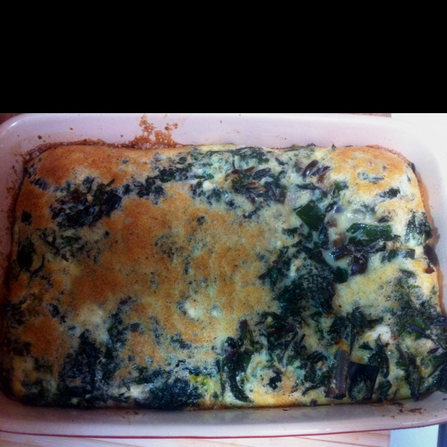 quiche with black olives, kale and leeks