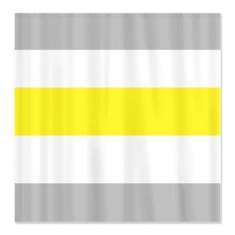 Gray Yellow Bold Stripe Shower Curtain