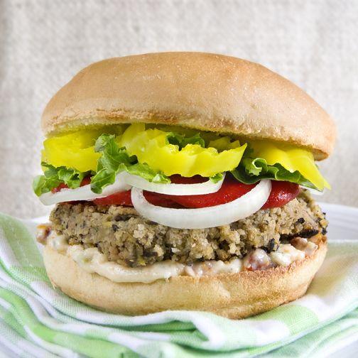 Vegan Burgers with Sun-dried Tomato and Cornichon Aioli