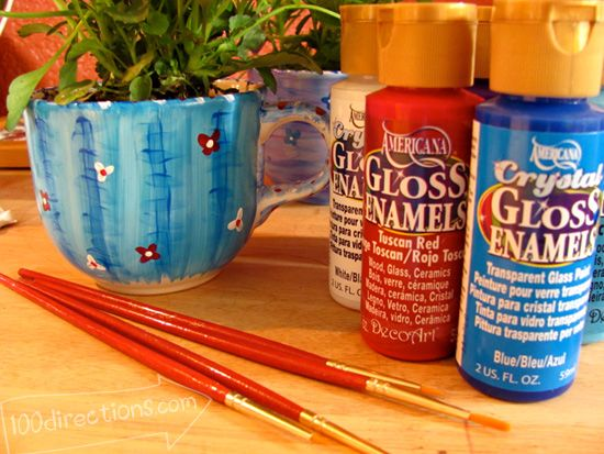 Use Decoart Gloss Enamel to paint your tea cups to make cute planters.