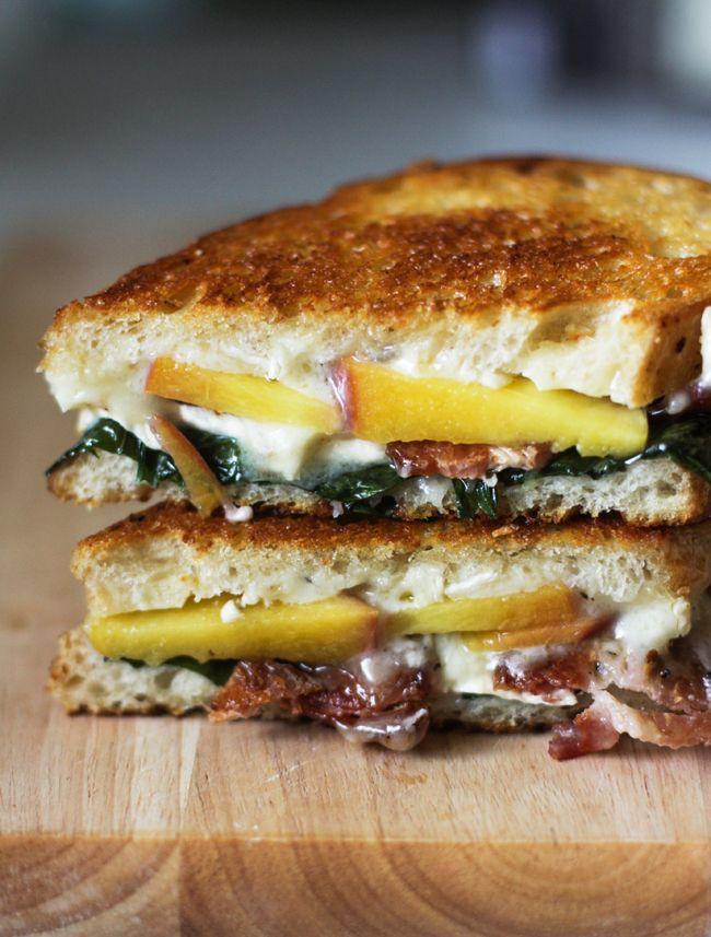 Peach, Brie, Bacon & Basil Sandwich   Sandwiches, Wraps and Foccacia ...