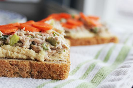 Tuna Tartines with Hummus | Appetizers | Pinterest