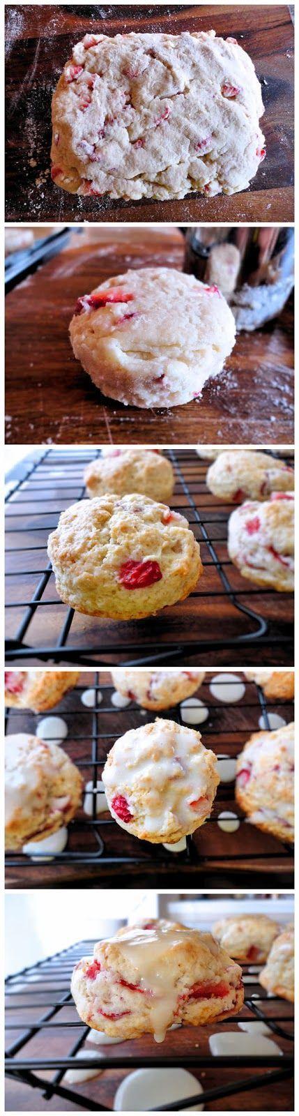 Orange Glazed Strawberry Scones | FOOD: bread and pastries | Pinterest