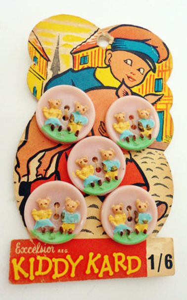 Bright Kiddy Kard Vintage Buttons