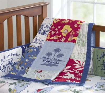 pottery barn kids blue island surf crib quilt bedding