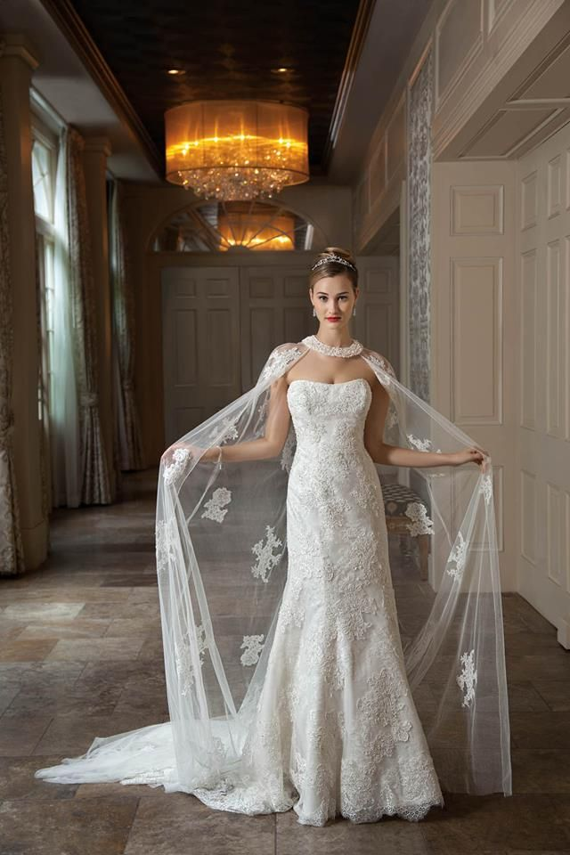 Demetrios 2014 here comes the bride pinterest for Wedding dress with a cape