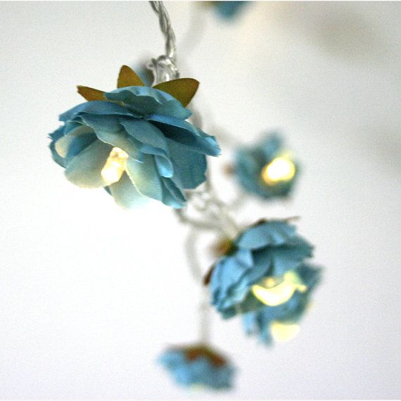 Deep Turquoise Rambling Rose Fairy Lights Flower Fairy String Lighting Home Decor on Etsy, $35.62