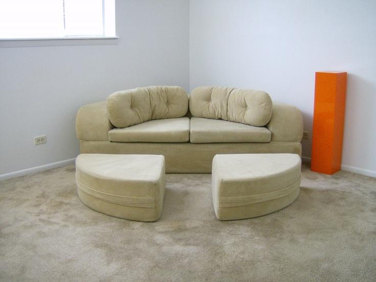 vintage 1970 39 s 70 39 s round circular modern mod sofa bed mid century
